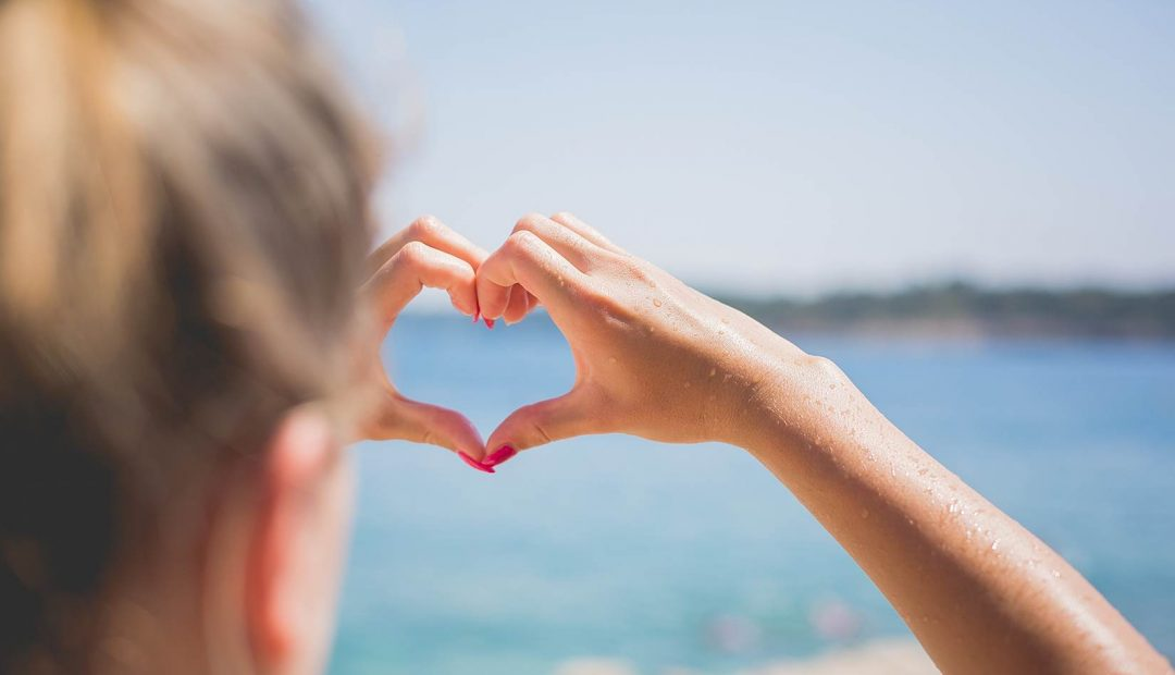 Hand Love Heart by the Sea